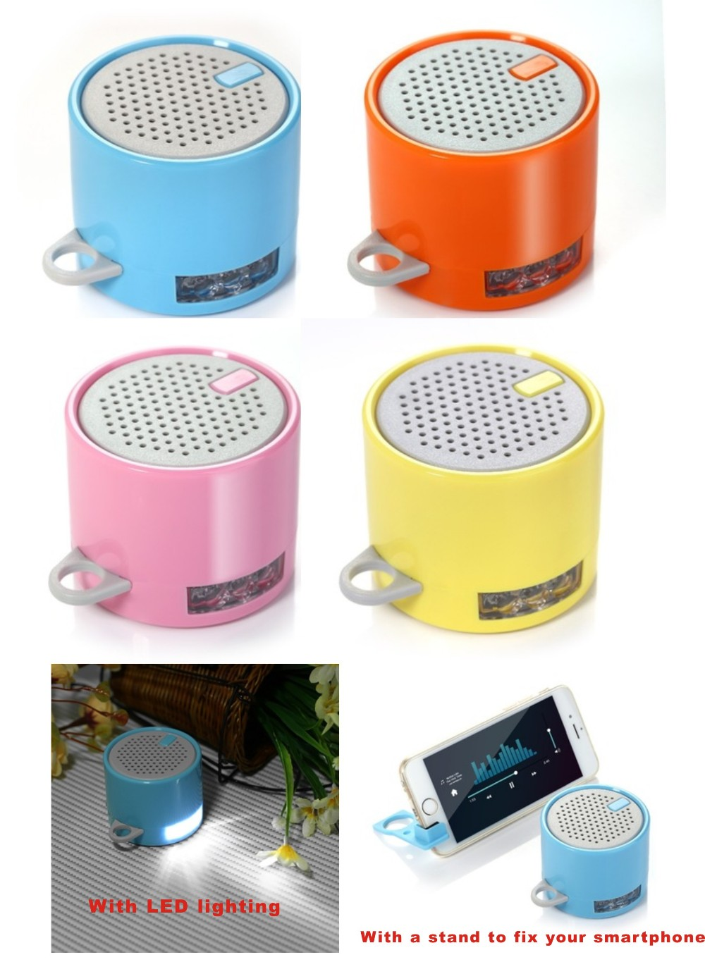 Cheap LED torch portable mini blue-tooth wireless speaker with phone stand