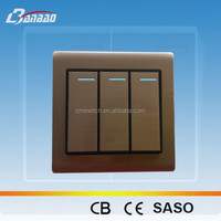Luxury Brushed 3gang 1 way wall switch antique bronze color