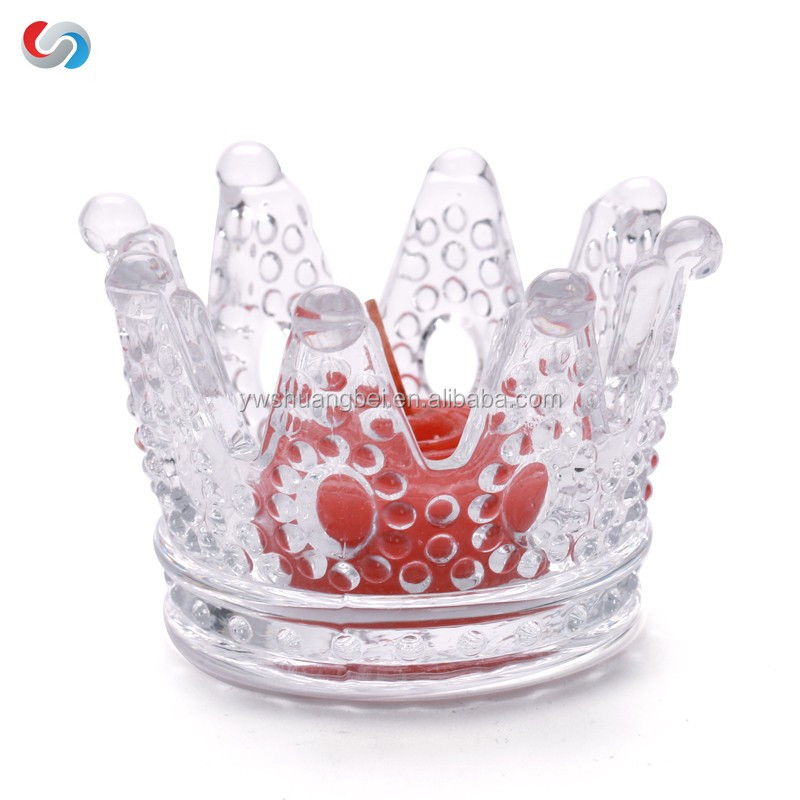 Romantic wedding Home Decoration Crown Glass Candle Holder Good For Gift