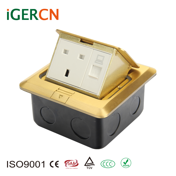 UK style copper alloy pop-up floor socket box and high quality power outlet /13A and 110V-250V Rated Voltage floor socket