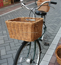 lucky weave willow wicker bycicle basket with mobilizable handle