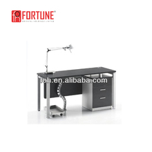 Office commercial used metal legs executive black glass surface chrome base office desks