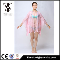 2016 new lace style summer pink color sexy cardigan beach blouse for lady