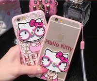 2016 New Products Cartoon 3D Rings/Glasses Hello kitty series Silicone Mobile Phone Holder/Phone Case for iphone 6plus/6s/6/5s/5
