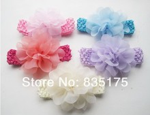 SF0701 baby infant cotton yarn beautiful fabirc chiffon flower headbands handmade knit crochet flower headband