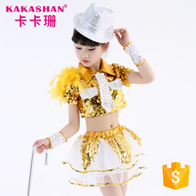 3 In 1 Child Jazz Performance Stage Children Sequin Dance Costumes