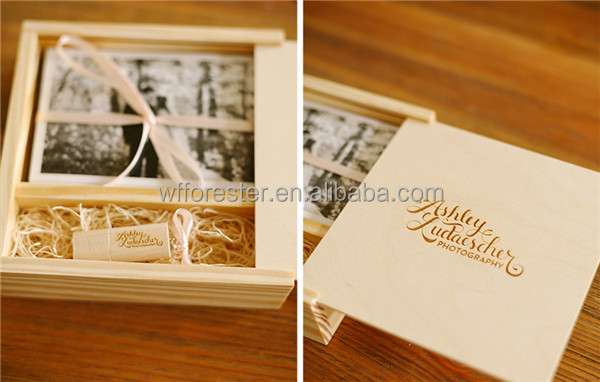 classical wooden box for wedding photos wooden packaging wholesale