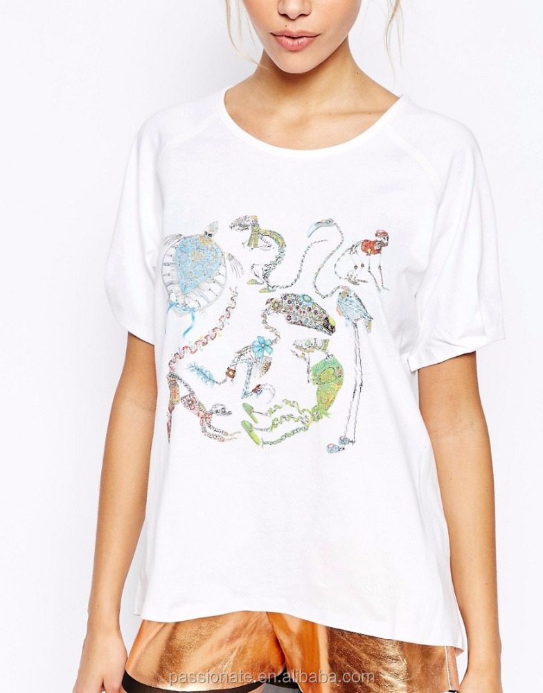 Plus Size White Front Print T Shirt For Wholesale Buy