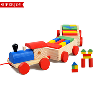 New item building block educational wooden train toy for kids