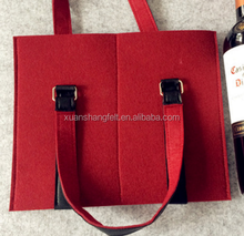 Red wine felt bag/ closed and mesh-shape/bottle bag