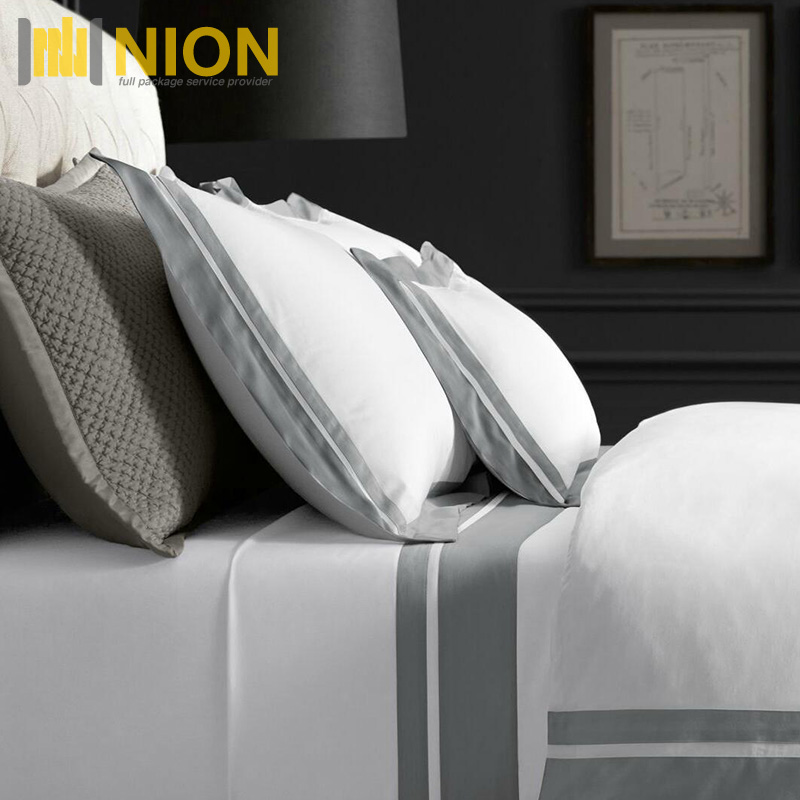 Italian Double Border Sateen Cotton Bedding Collection for Hotel/Home with Full Package Service for Amazon Shipment
