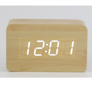 Hot selling rectangle digital wooden LED clock with alarm