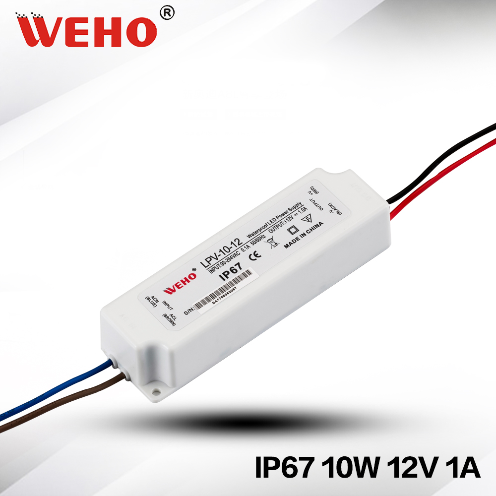 Waterproof IP67 Plastic LED Power Supply 10W DC 12V LED Driver