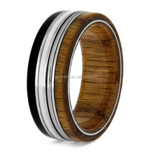 Titanium Wood Ring High Polished Grid Wood Inlay Comfort Fit 8mm Plating Silver Ring Eternity Ring
