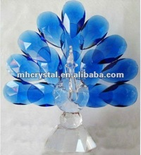 Handicrafts blue crystal peacock figurine MH-D0254