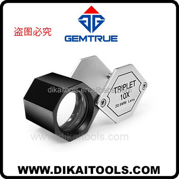 Professional standard triplet lens loupe for gemologists and diamond dealers