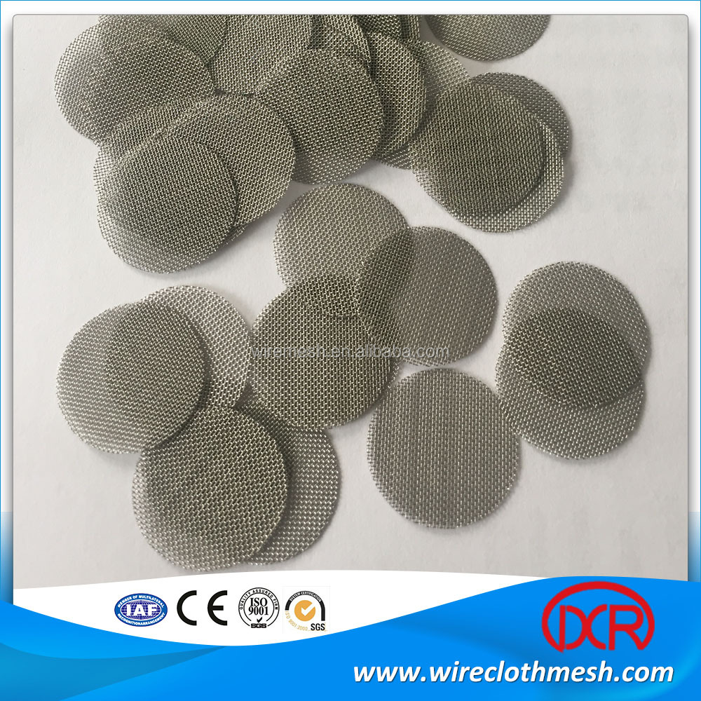 15mm titanium /304 and 316 stainless smoking pipe screen/ smoking pipe filter wire mesh