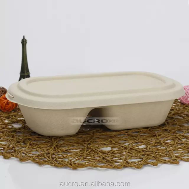 Wheat Straw Disposable paper Food Container Eco Friendly To Go Lunch Box