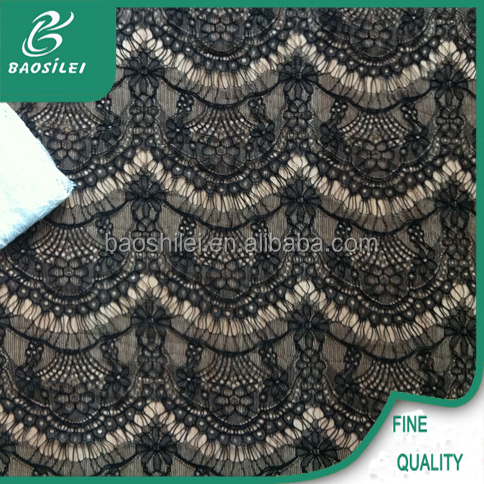 Black eyelash lace fabric guipure nylon cotton lace for lace underwear sets china wholesale