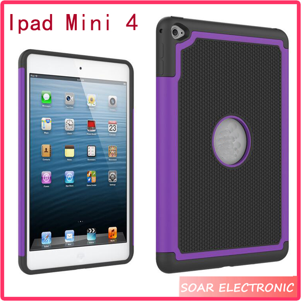 2 layer football skin Shockproof Tablet Case For Ipad Mini 4, Rugged Silicone Covers 7.9 inch