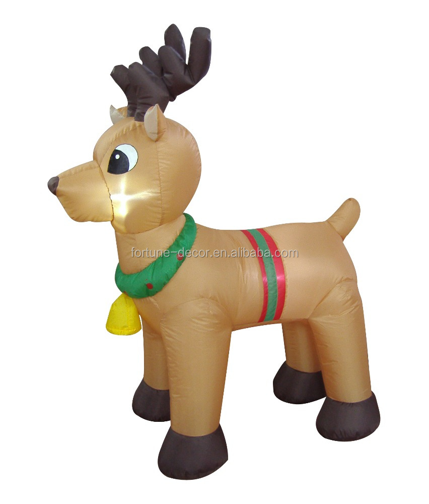 120cm/4ft inflatable reindeer who is four standing with bell for christmas