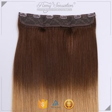 Ombre Color Clear Wire Style Hair Piece Extension, Easy Flip Extensions