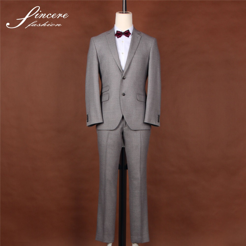 Light Grey 100% wool Men's suit jacket trouser business suit