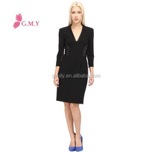 latest black drop v neck 3/4 sleeve formal ladies office wear