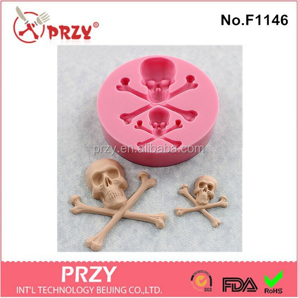 2015 newest fondant halloween skeleton silicone mold