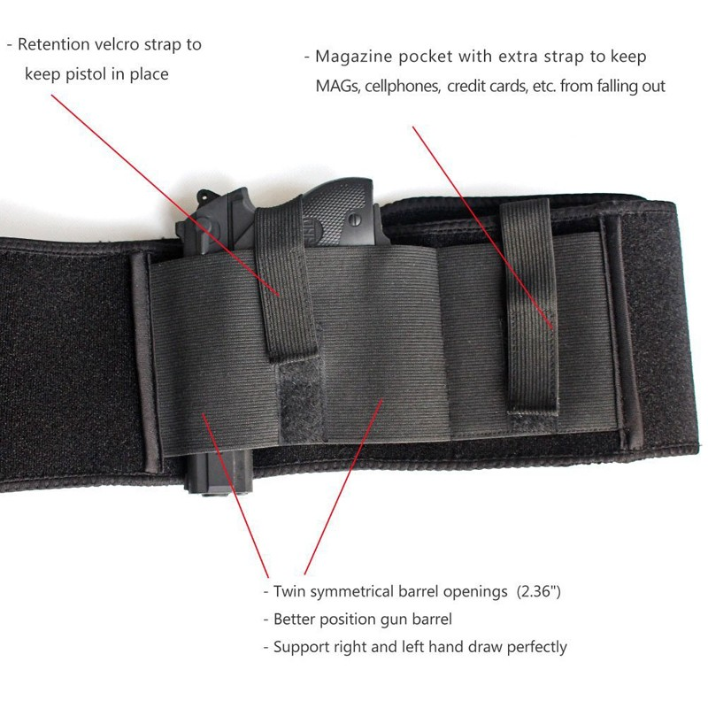 2017 hot sell amazon neoprene soft belly band gun holster concealed carry