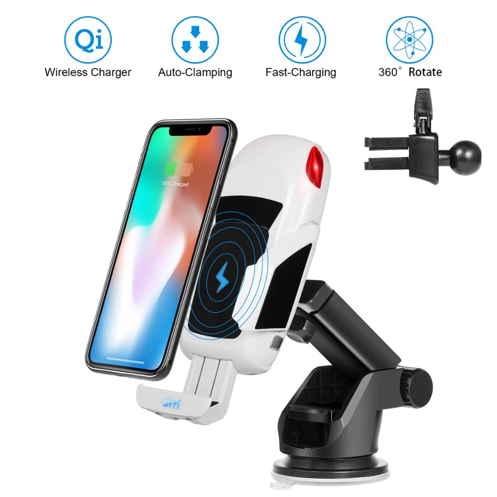 2019 New Arrival 10W Qi Fast Charging Car Phone Holder Air Vent Dashboard Windshield 3 in 1 Wireless Car Charger Mount