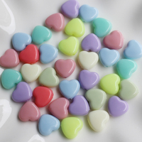 Wholesale Acrylic Charm Heart Beads Pastel At Random Color