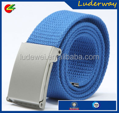 Colorful Unisex canvas fabric webbing belt with plate buckle