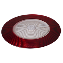 "13"" Cheap Fancy Red Clear Glass Plates"