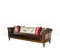 British Classical Royal Gold Carved Leather Antique Living Room Sofa
