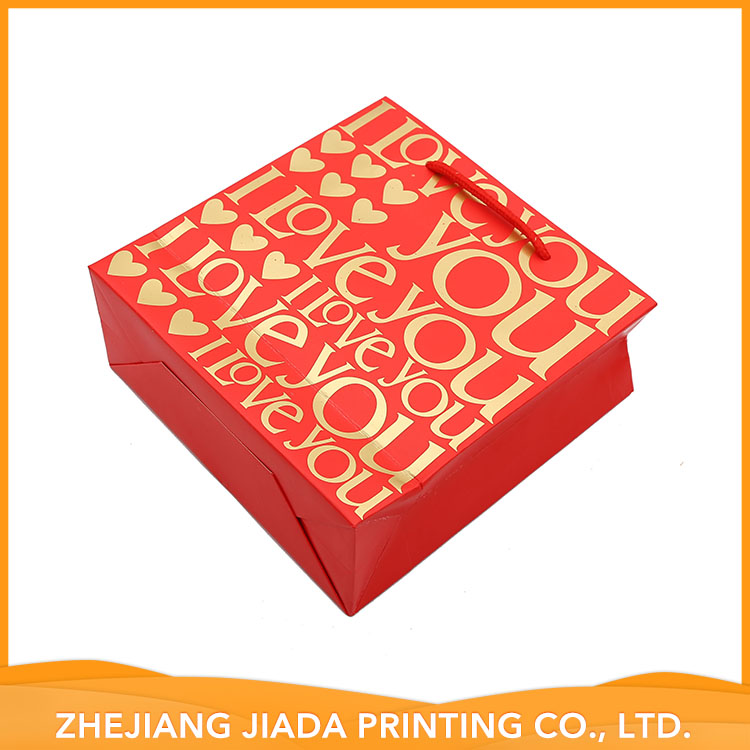 Custom Logo Printed Red Paper Bags With Handle