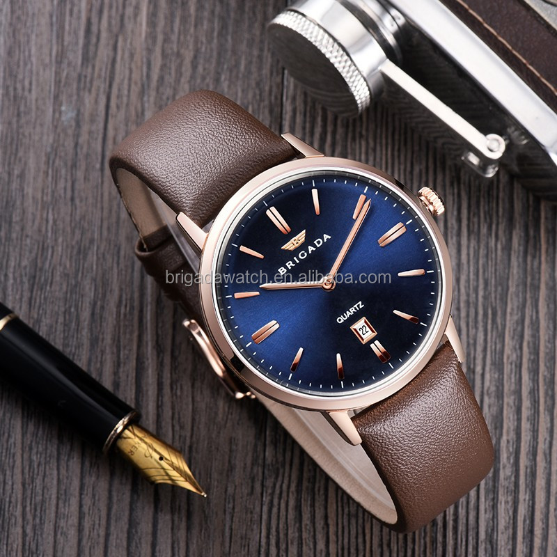 Custom stainless steel quartz leather watches strap Japan movement 3ATM water resistant