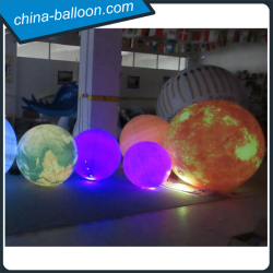 Different sizes inflatable planet balloons / inflatable lighting nine planets for hanging decoration
