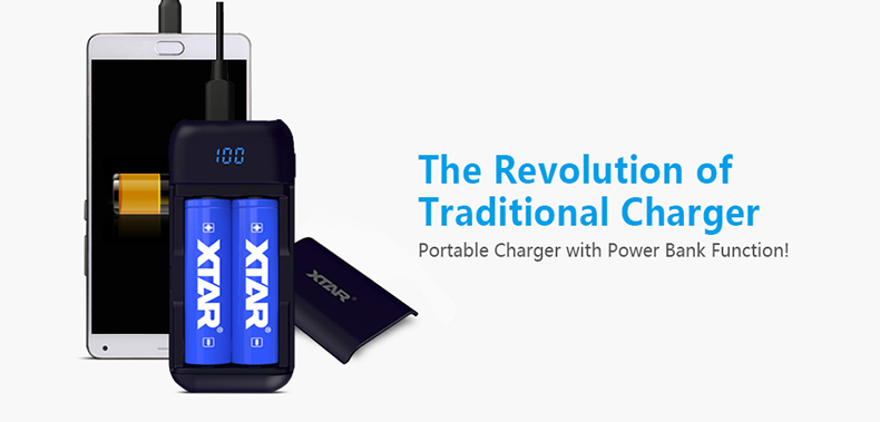 XTAR PB2 Li-ion power bank 3.7V lithium magnetic cover 18650 rechargeable battery charger