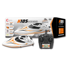 H105 long range RC boat model with brush motor toy 180 degree flip high speedboat with 150m remote control (LED Screen)