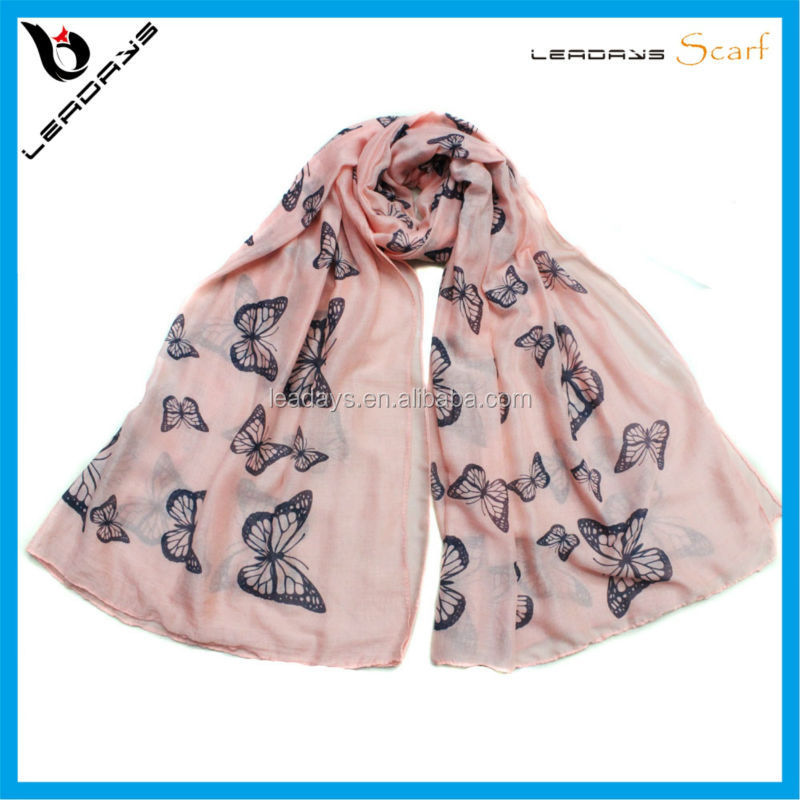 butterfly printing 2015 hot selling cotton jersey scarf hijab