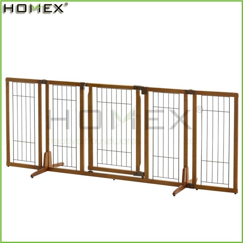 Wood Solid Pet Gate Extendable Pet Fence w Door Homex_BSCI Factory