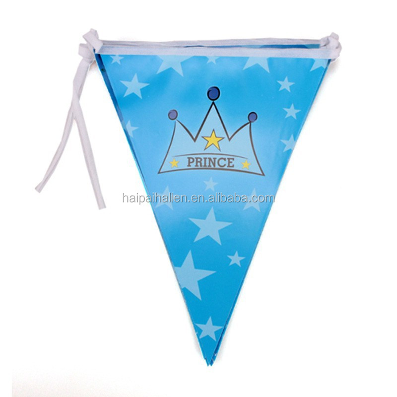 Baby Blue Triangle Bunting Flags for kids' theme birthday party decoration