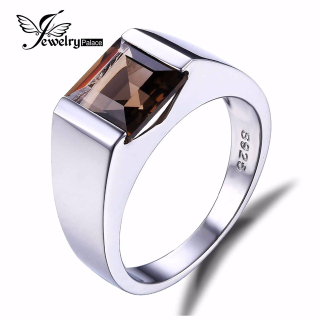 JewelryPalace 2.3CT Smoky Quartz Wedding Rings For Men Pure Solid 925 Sterling Sliver Men Jewelry Brand New  Vintage Jewelry
