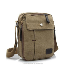 Wholesale korean multi function khaki color canvas mini men messenger bag