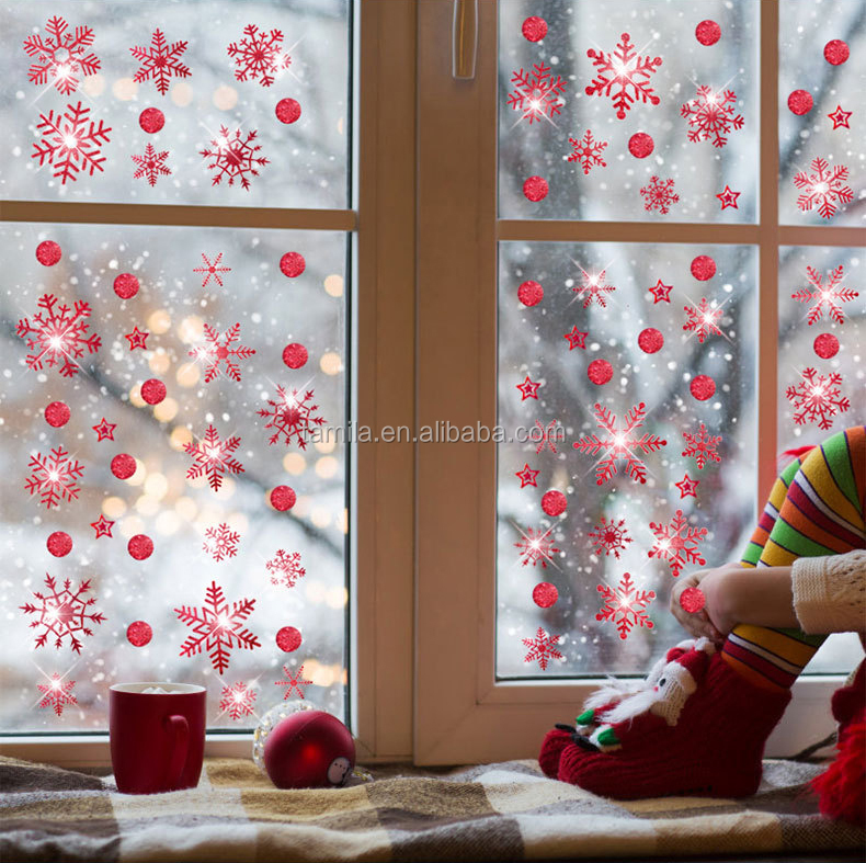Merry Christmas Shining Red Snowflake Wall Vinyl Glitter Window Decoration Sticker