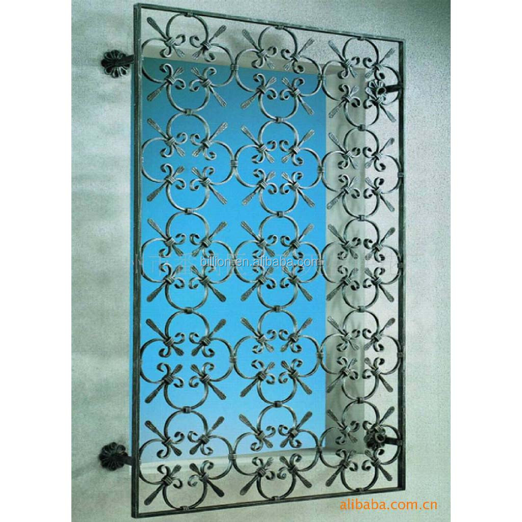 Wrought iron interior security window grill design buy