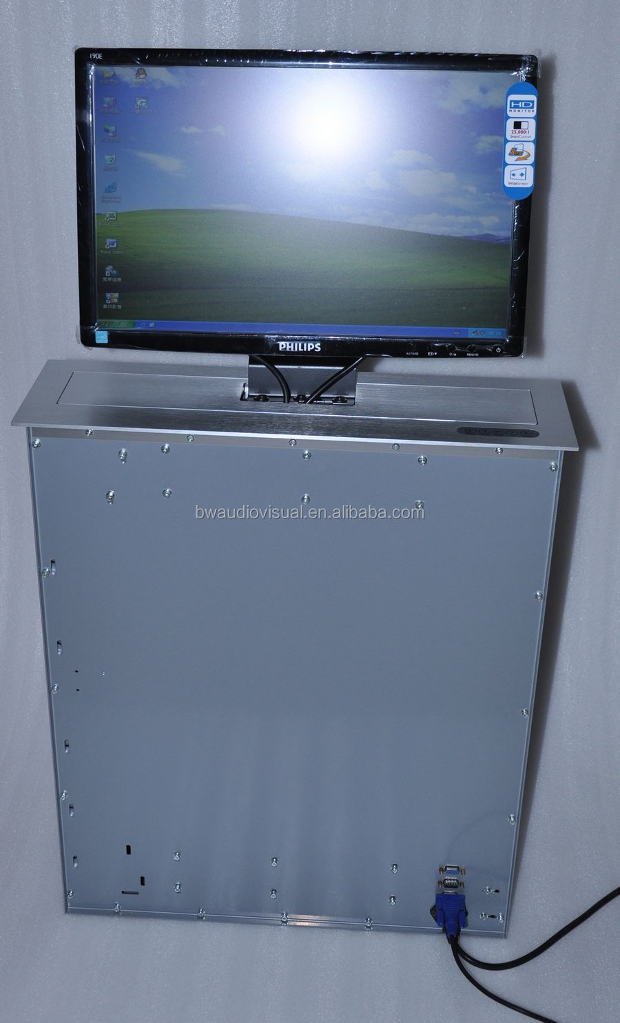 Conference System Motorized Elevator LCD Monitor / Electric Pop Up Monitor Lift