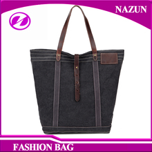Large Capacity canvas with crazy horse leather Fashion Women tote Bag Lady canvas hand bags