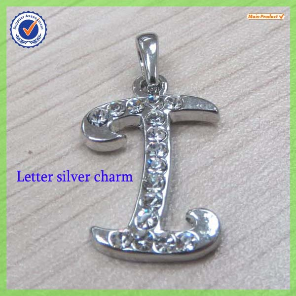 Fashion zinc alloy crystals hebrew letter I charms # 11252-I
